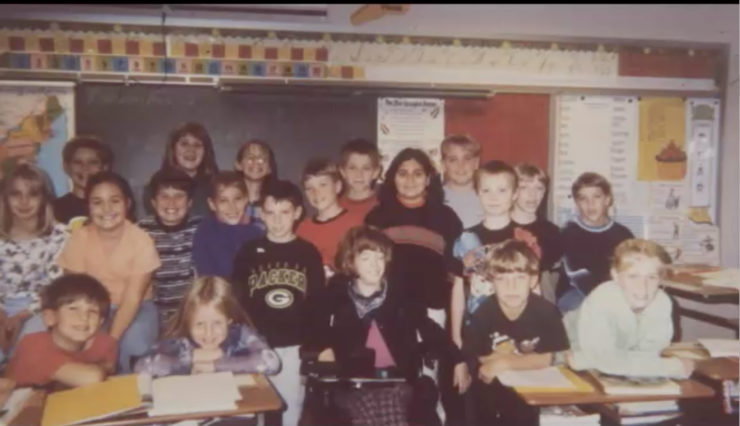 Alexa pictured with 4th grade class